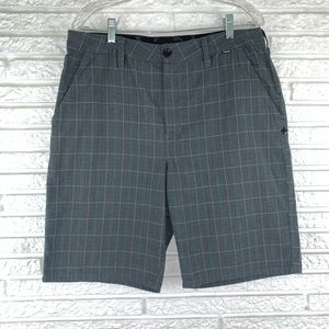 Hurley plaid flat front shorts